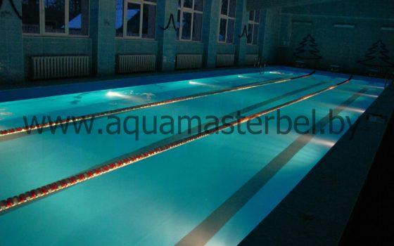 реконструкция бассейна 25м, ПВХ плёнка, подводное освещение