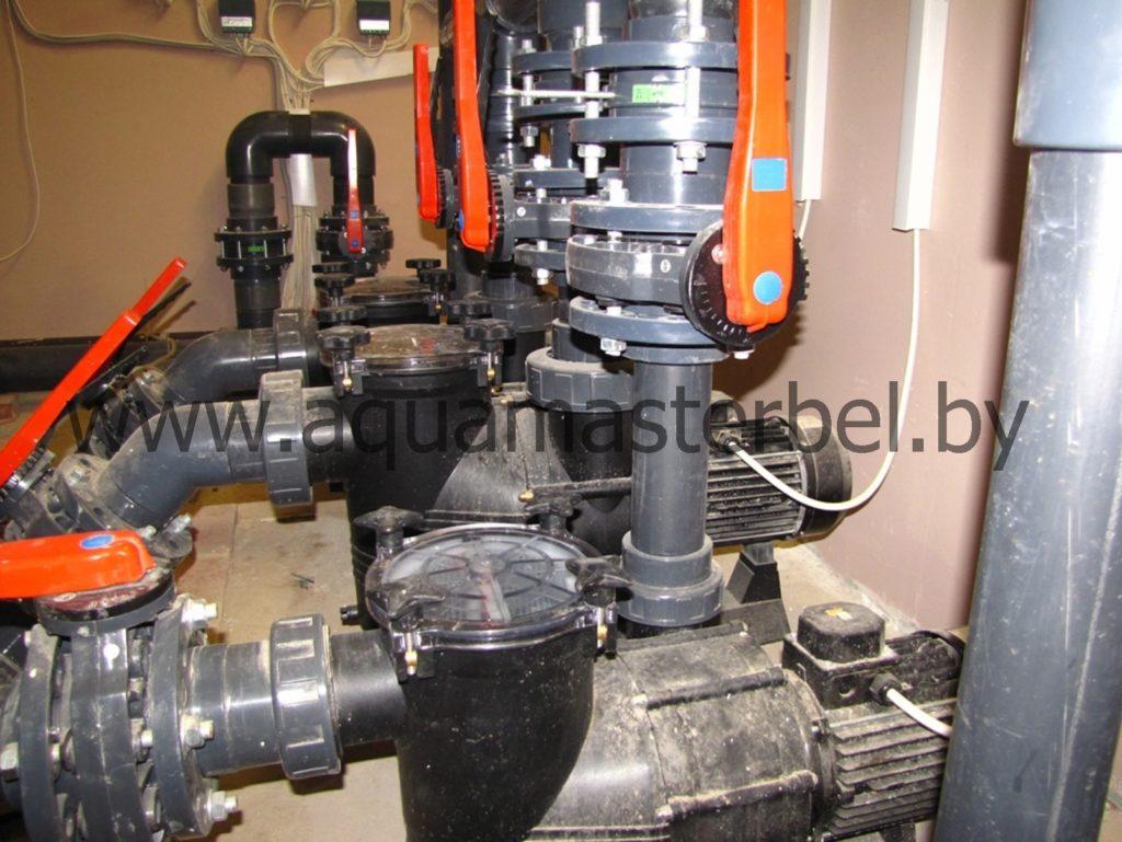 оборудование для бассейна, обвязка циркуляционных насосов
