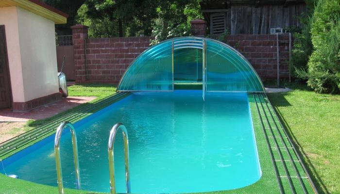 Уличный полипропиленовый бассейн со сдвижным павильоном