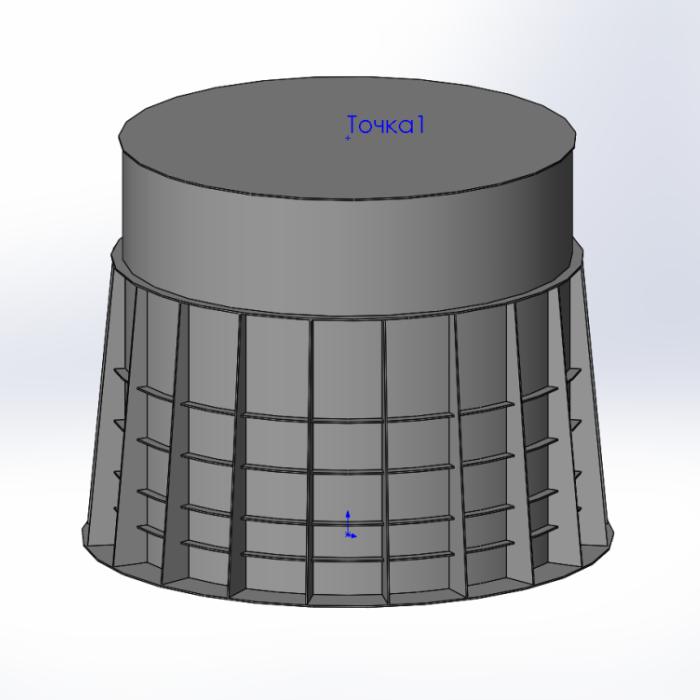 модель технической ёмкости из полиэтилена с усиленными рёбрами жесткости