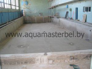 реконструкция бассейна, установка донных форсунок